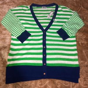 green stripped cardigan